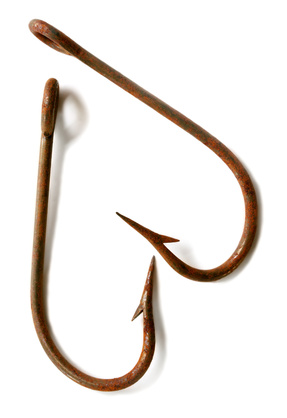 Rusted fish hooks